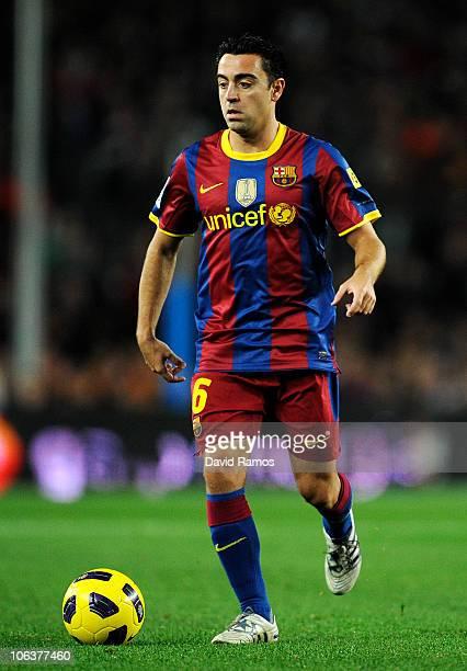 Xavi Hernandez of Barcelona controls the ball during the La Liga match between Barcelona and Sevilla FC on October 30 2010 in Barcelona Spain...