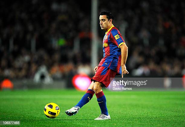 Xavi Hernandez of Barcelona controls the ball during the La Liga match between Barcelona and Sevilla FC on October 30 2010 in Barcelona Spain...