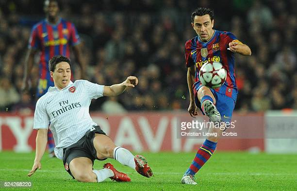 Xavi Hernandez of Barcelona during the second leg of the UEFA Champions League Quarter Final match Barcelona vs Arsenal in Barcelona Spain | Location...