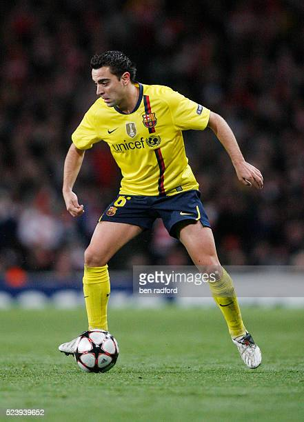 Xavi Hernandez of Barcelona during the UEFA Champions League Quarter Final 1st Leg match between Arsenal and Barcelona at the Emirates Stadium in...