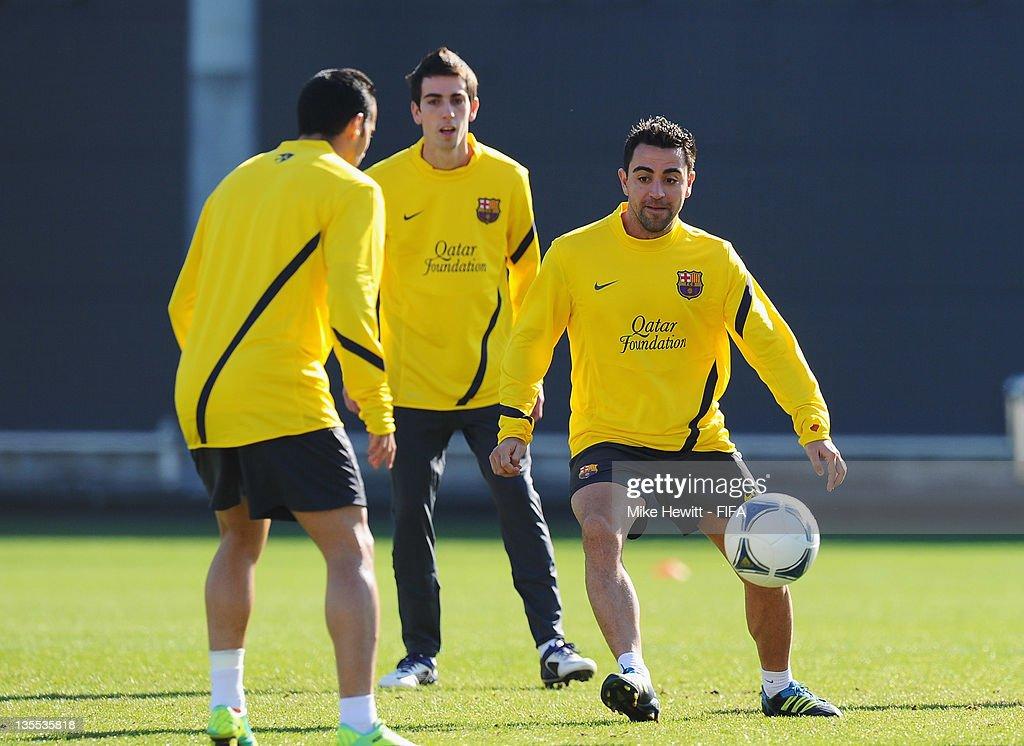 Xavi Hernandez of Barcelona in action during the Barcelona training at Marinos Town on December 12, 2011 in Yokohama, Japan.