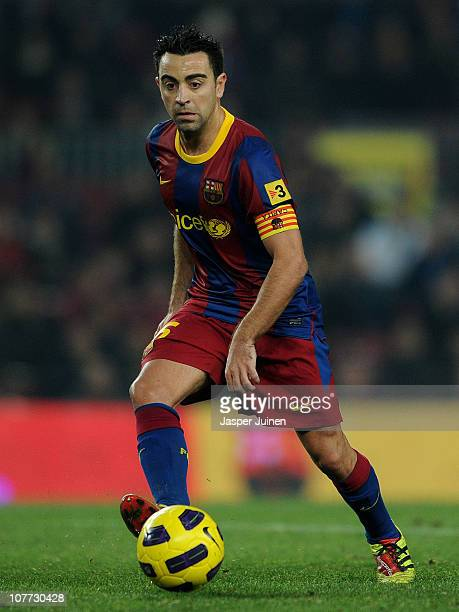 Xavi Hernandez of Barcelona strikes the ball during the round of last 16 Copa del Rey match between FC Barcelona and Athletic Bilbao at the Camp Nou...