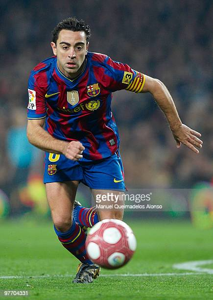 Xavi Hernandez of FC Barcelona in action during the La Liga match between Barcelona and Valencia at the Camp Nou Stadium on March 14 2010 in...