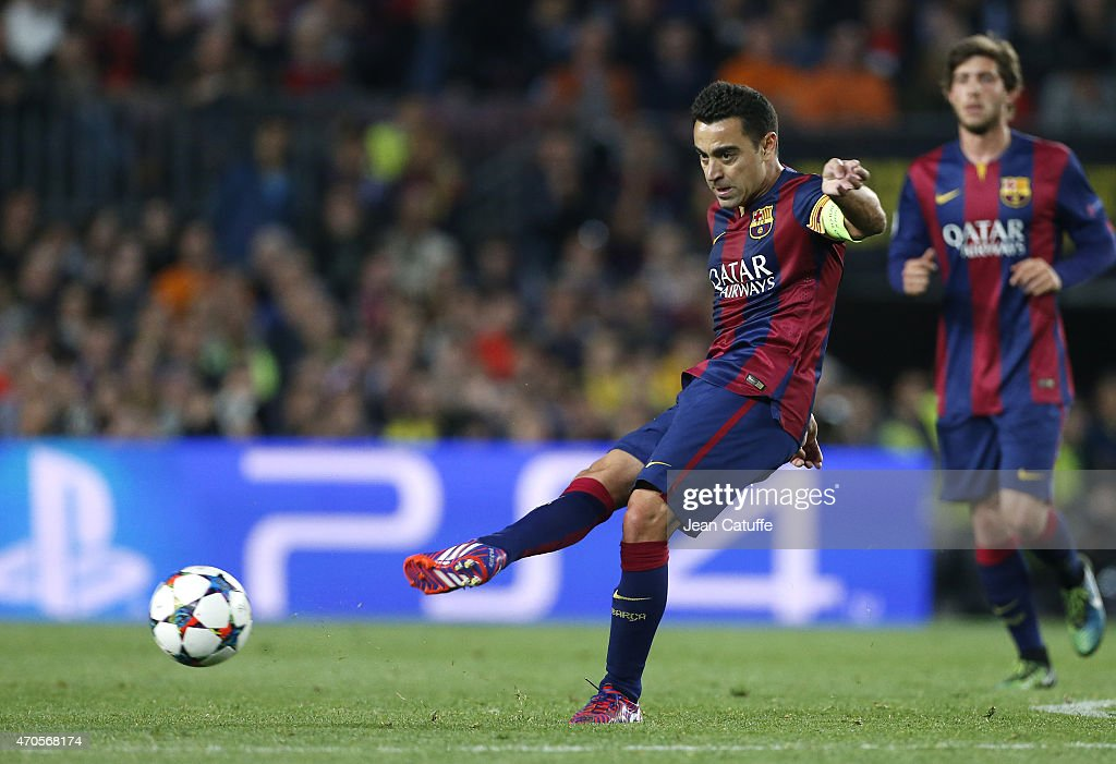 Xavi Hernandez of FC Barcelona in action during the UEFA Champions League Quarter Final second leg match between FC Barcelona and Paris Saint-Germain (PSG) at Camp Nou stadium on April 21, 2015 in Barcelona, Spain.