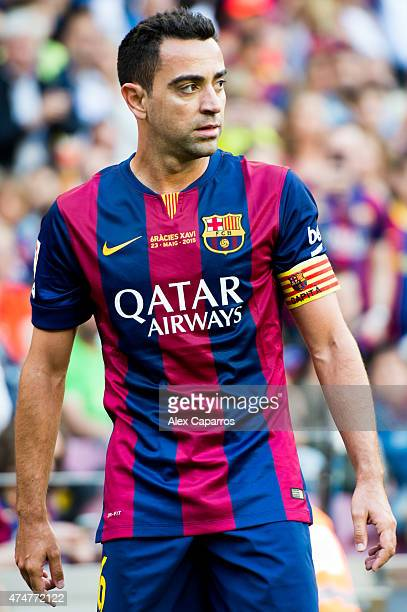 Xavi Hernandez of FC Barcelona looks on during the La Liga match between FC Barcelona and RC Deportivo La Coruna at Camp Nou on May 23 2015 in...
