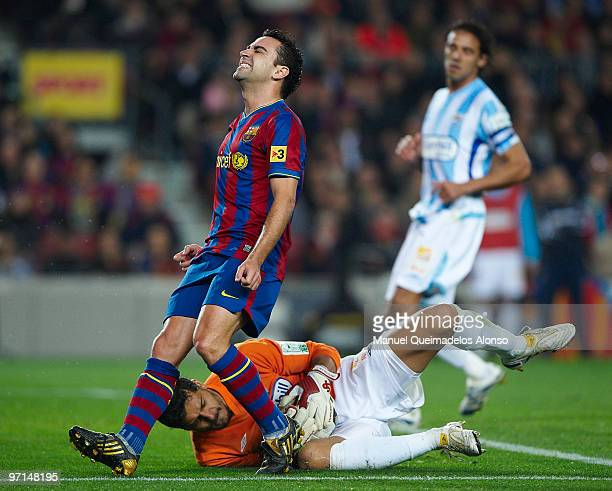 Xavi Hernandez of FC Barcelona reacts during the La Liga match between Barcelona and Malaga at Camp Nou on February 27 2010 in Barcelona Spain...
