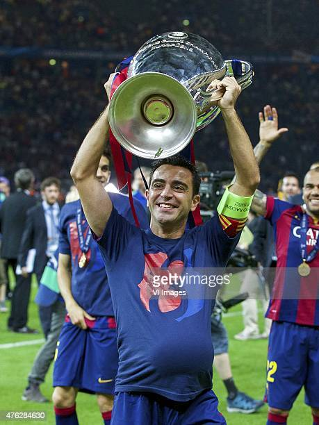 Xavi Hernandez of FC Barcelona with Champions League trophy during the UEFA Champions League final match between Barcelona and Juventus on June 6,...