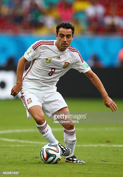Xavi Hernandez of Spain in action during the 2014 FIFA World Cup Brazil Group B match between Spain and Netherlands at Arena Fonte Nova on June 13...