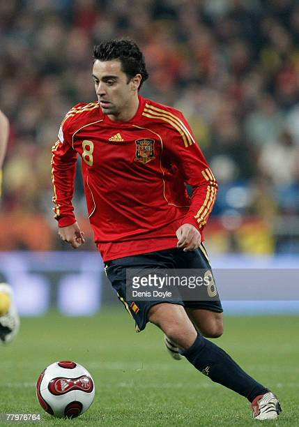 Xavi Hernandez of Spain in action during the EURO 2008 Group F Qualifier between Spain and Sweden at the Santiago Bernabeu stadium on November 17,...