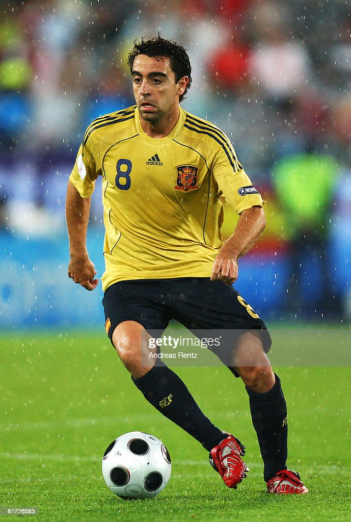 Xavi Hernandez of Spain in action during the UEFA EURO 2008 Semi Final match between Russia and Spain at Ernst Happel Stadion on June 26, 2008 in Vienna, Austria.