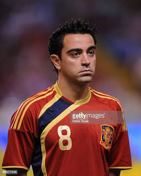 Xavi Hernandez of Spain lines-up before the Group 5 FIFA2010 World Cup Qualifier match between Spain and Belgium at the Riazor stadium on September...