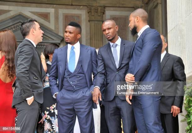 Xavi Hernandez Samuel Etoo Eric Abidal and Seydou Keita attend the wedding of the goalkeeper Victor Valdes and Yolanda Cardona on June 9 2017 in...