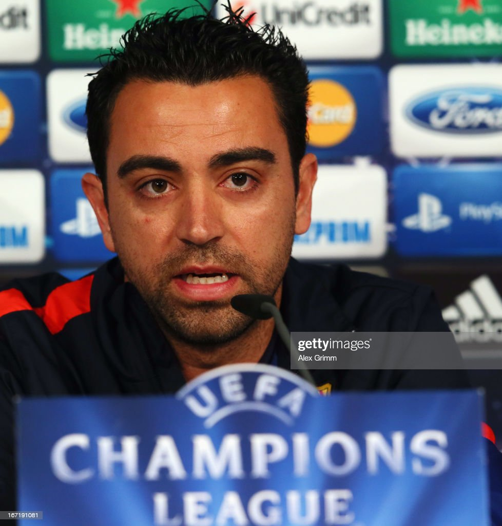 Xavi Hernandez talks to the media during a FC Barcelona press conference ahead of their UEFA Champions League Semi Final first leg match against FC Bayern Muenchen on April 22, 2013 in Munich, Germany.