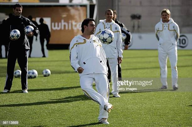 Xavi in action during the Adidas press launch of the new Predator Football boot on November 7 2005 in Las Rozas Madrid