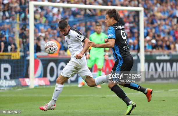 Xavi Molina and Jelle Vossen fight for the ball during the Jupiler Pro League match between Club Brugge and KAS Eupen at Jan Breydel Stadium on July...