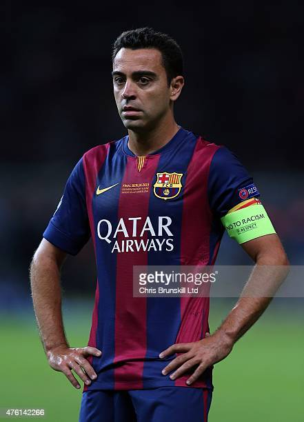 Xavi of FC Barcelona looks on during the UEFA Champions League Final match between Juventus and FC Barcelona at the Olympiastadion on June 6 2015 in...