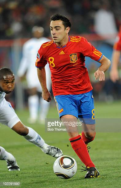 Xavi of Spain during the 2010 FIFA World Cup South Africa Group H match between Spain and Honduras at Ellis Park Stadium on June 21 2010 in...