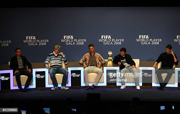 Xavi of Spain Fernando Torres of Spain Cristiano Ronaldo of Portugal Lionel Messi of Argentina and Kaka of Brazil listen to question from the media...