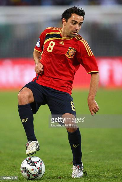 Xavi of Spain on the ball during the FIFA Confederations Cup match between Spain and Iraq at Free State Stadium on June 17 2009 in Bloemfontein South...