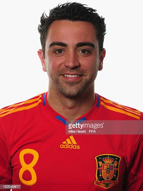 Xavi of Spain poses during the official Fifa World Cup 2010 portrait session on June 13 2010 in Potchefstroom South Africa