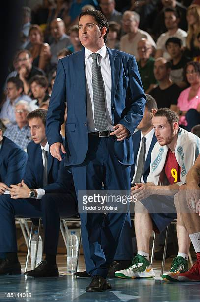 Xavi Pascual Head Coach of FC Barcelona in action during the 20132014 Turkish Airlines Euroleague Regular Season date 1 game between FC Barcelona...