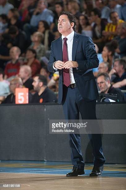 Xavi Pascual Head Coach of of FC Barcelona in action during the 20142015 Turkish Airlines Euroleague Basketball Regular Season Date 3 game between FC...