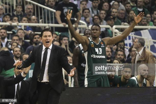 Xavi Pascual head coach of Panathinaikos Superfoods and Thanasis Antetokounpo react against a decision of the referee during the Turkish Airlines...