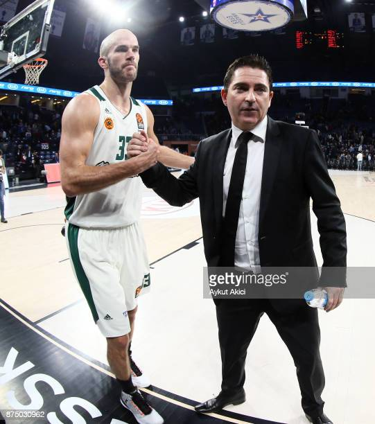 Xavi Pascual Head Coach of Panathinaikos Superfoods Athens and Nick Calathes #33 of Panathinaikos Superfoods Athens celebrate victory during the...