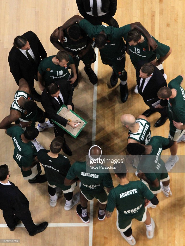 Xavi Pascual, Head Coach of Panathinaikos Superfoods Athens gives directions to his players during the 2017/2018 Turkish Airlines EuroLeague Regular Season Round 7 game between Panathinaikos Superfoods Athens and Khimki Moscow Region at Olympic Sports Center Athens on November 14, 2017 in Athens, Greece.