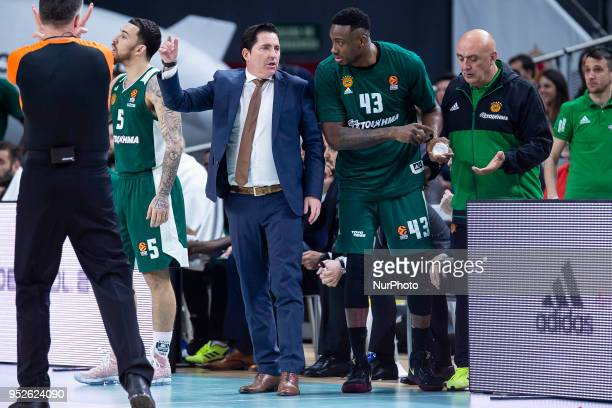 Xavi Pascual Head Coach of Panathinaikos Superfoods Athens gives istruction to Thanasis Antetokounmpo of Panathinaikos Superfoods Athens during the...