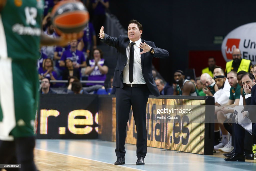 Xavi Pascual, Head Coach of Panathinaikos Superfoods Athens in action during the 2017/2018 Turkish Airlines EuroLeague Regular Season Round 25 game between Real Madrid and Panathinaikos Superfoods Athens at Wizink Arena on March 8, 2018 in Madrid, Spain.