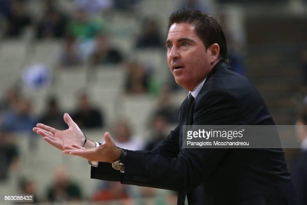Xavi Pascual Head Coach of Panathinaikos Superfoods Athens react during the 2017/2018 Turkish Airlines EuroLeague Regular Season Round 2 game between...