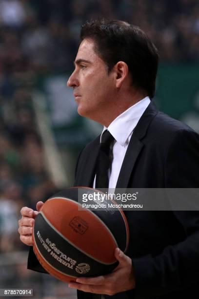 Xavi Pascual Head Coach of Panathinaikos Superfoods Athens react during the 2017/2018 Turkish Airlines EuroLeague Regular Season Round 9 game between...