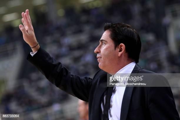 Xavi Pascual Head Coach of Panathinaikos Superfoods Athens react during the 2017/2018 Turkish Airlines EuroLeague Regular Season game between...