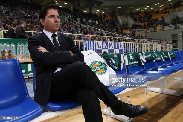 Xavi Pascual Head Coach of Panathinaikos Superfoods Athens react before the 2017/2018 Turkish Airlines EuroLeague Regular Season Round 13 game...