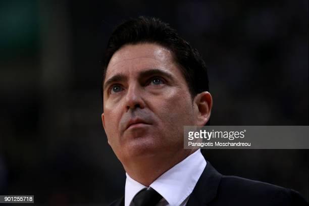 Xavi Pascual Head Coach of Panathinaikos Superfoods Athens react during the 2017/2018 Turkish Airlines EuroLeague Regular Season Round 16 game...