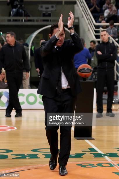 Xavi Pascual Head Coach of Panathinaikos Superfoods Athens react before the 2017/2018 Turkish Airlines EuroLeague Regular Season Round 19 game...