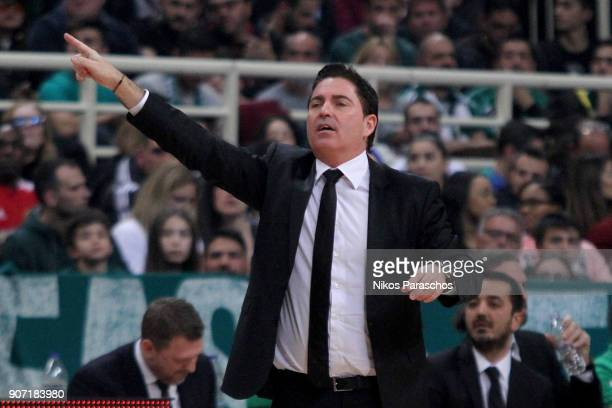 Xavi Pascual Head Coach of Panathinaikos Superfoods Athens react during the 2017/2018 Turkish Airlines EuroLeague Regular Season Round 19 game...