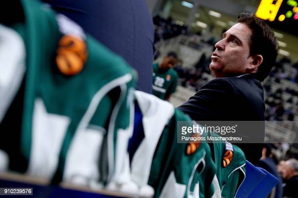 Xavi Pascual Head Coach of Panathinaikos Superfoods Athens react before the 2017/2018 Turkish Airlines EuroLeague Regular Season Round 20 game...