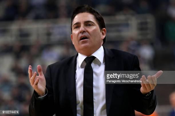 Xavi Pascual Head Coach of Panathinaikos Superfoods Athens react during the 2017/2018 Turkish Airlines EuroLeague Regular Season Round 20 game...