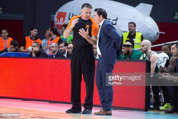 Xavi Pascual Head Coach of Panathinaikos Superfoods Athens talks to referee Sreten Radovic from Croatia during the Turkish Airlines Euroleague Play...