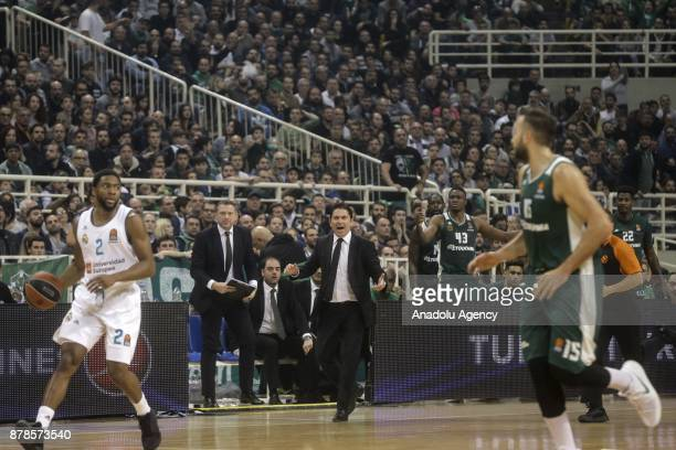 Xavi Pascual head coach of Panathinaikos Superfoods reacts as he watches the Turkish Airlines Euroleague match between Panathinaikos Superfoods and...