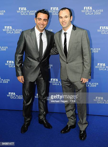 Xavi poses with Andres Iniesta as they arrive at the FIFA World Player Gala on December 21 2009 in Zurich Switzerland