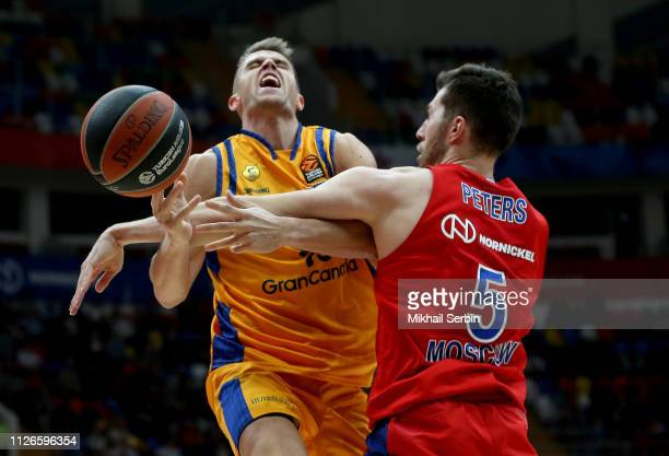 Xavi Rabaseda #22 of Herbalife Gran Canaria competes with Alec Peters #5 of CSKA Moscow in action during the 2018/2019 Turkish Airlines EuroLeague...