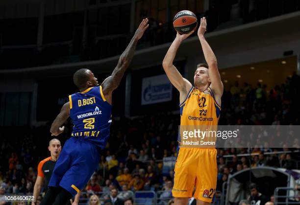 Xavi Rabaseda #22 of Herbalife Gran Canaria competes with Dee Bost #3 of Khimki Moscow Region in action during the 2018/2019 Turkish Airlines...