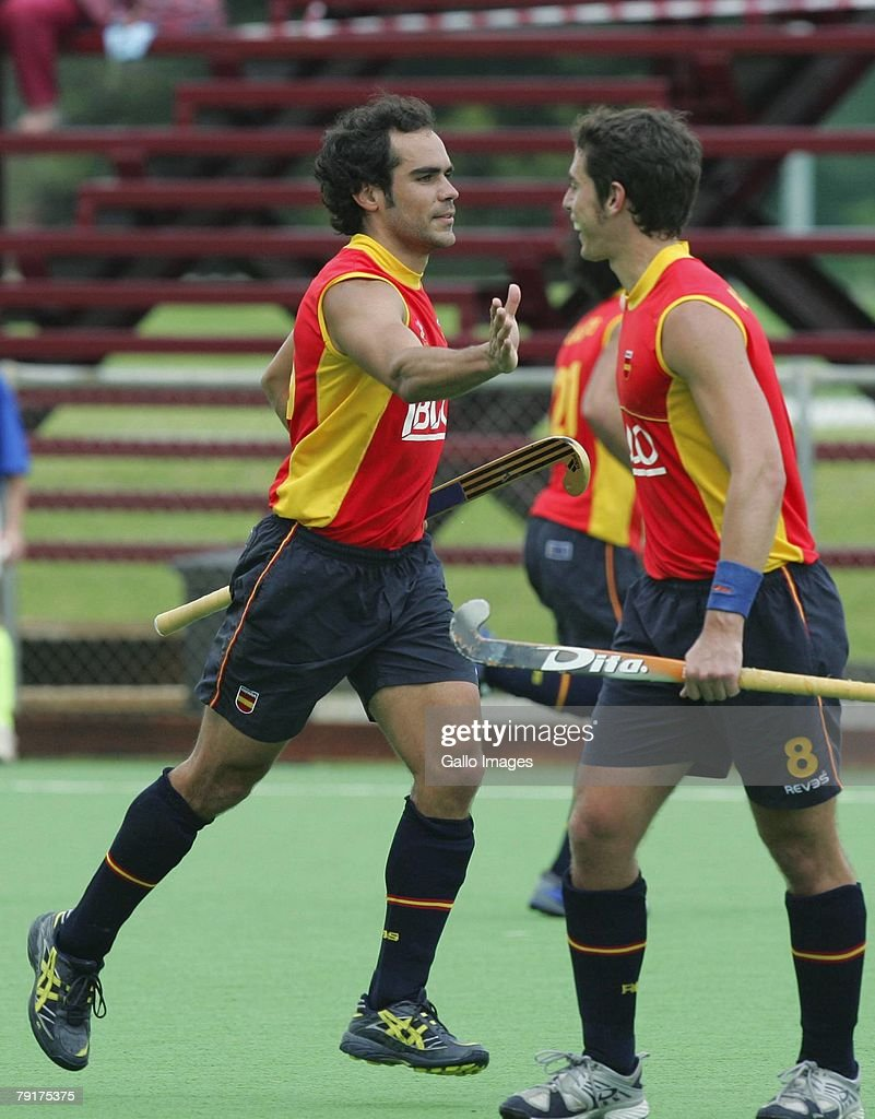 Xavi Ribas (left) of Spain celebrates his second goal during the Five Nations Men's Hockey tournament match between Australia and Spain held at the North West University hockey centre on January 23, 2007 in Potchefstroom, South Africa.