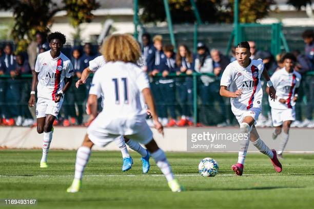 Xavi SIMONS and Kays RUIZ ATIL of PSG during the Youth League match between Paris Saint Germain and Real Madrid at Camp des Loges on September 18...