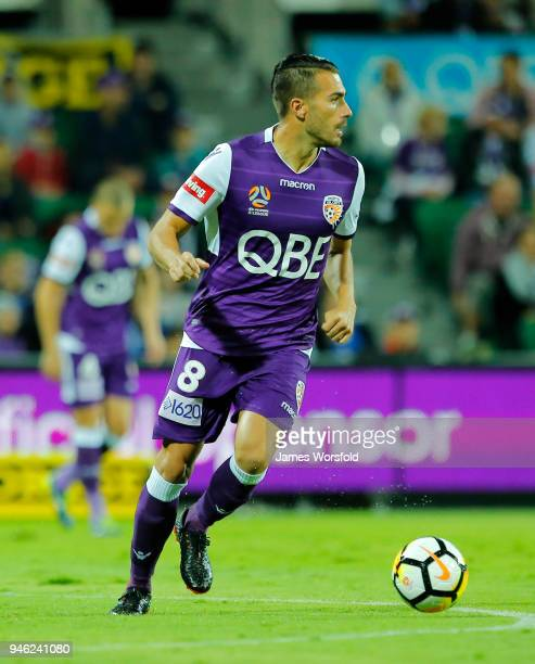 Xavi Torres of the Perth Glory looks to pass out to a team mate during the round 27 ALeague match between the Perth Glory and the Brisbane Roar at...
