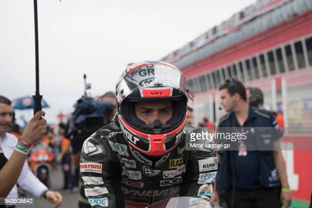 Xavi Vierge of Spain and Dynavolt Intact GP prepares to start on the grid during the Moto2 race during the MotoGp of Argentina Race on April 8 2018...