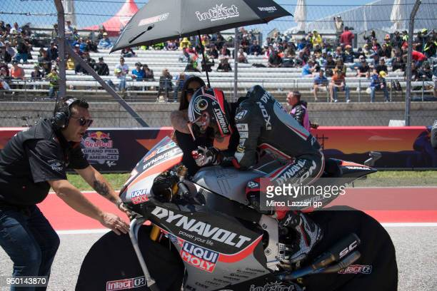 Xavi Vierge of Spain and Dynavolt Intact GP prepares to start on the grid during the Moto2 race during the MotoGp Red Bull US Grand Prix of The...